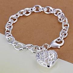Hollow Heart Shpae 925 Silver Bracelet (1PC)