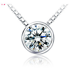 Classic  (Concentric circle) Zircon/Silver Plated Necklace Pendant Necklaces Wedding/Party/Daily/Casual 1pc