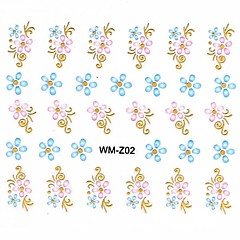 1PC 3D Trendy Nail Art Stickers Nail Wraps Nail Decals Gold Flower Nail Polish Decorations