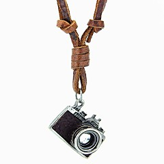 European And American Retro Nostalgia Camera Adjustable Leather Cord Necklace