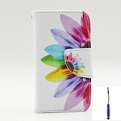 Beautiful Petals Pattern PU Leather Case Cover with A Touch Pen ,Stand and Card Holder for iPhone 4/4S