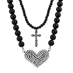Latest Design Rhinestone Cross And Heart Hanging Black Long Bead Necklace