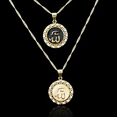 18K Real Gold Plated Allah Muslim Pendant Necklace(Black/White)