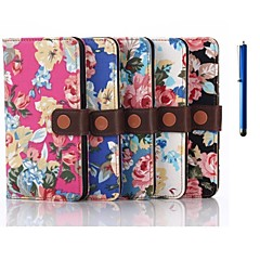 5.1 Inch Flower Pattern Wallet Leather Case with Pen for Samsung GALAXY S6(Assorted Colors)