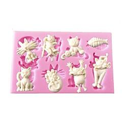 animal del dibujo animado de mini molde de silicona forma de pez gato de la decoración de la magdalena de chocolate artes&artesanías