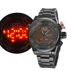 Orologio militare - Per uomo - Quarzo - Analogico-digitale - LED/Calendario/Resistente all'acqua/Due fusi orari/allarme