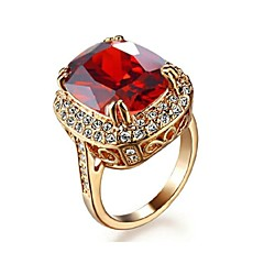 Big Four Claw Ruby Ring 18K Rose Gold Plated Princess 6ct Cut Zircon Wedding Ring Austrian Crystals