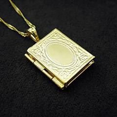 18K 진짜 금은 내부 레이저 조각 알라 이슬람 사진 상자 펜던트 1.2 * 2.5cm의 도금