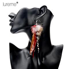 Lureme® Bohemian  Multicolour Pheasant Feather Alloy Pendant Earrings
