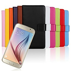 Solid Color Genuine Leather Full Body Case with Stand and Card Slot for Samsung Galaxy S6