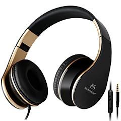 pliable stéréo de 3,5 mm sur l'oreille casque portable casques de cuir stretch Earpad avec microphone de construire-dans