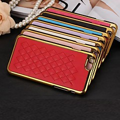 Fashion Lingge Jacquard Design PC and Electroplate Metal and Sheepskin Leather Cover for iPhone 4/4S(Assorted Colors)