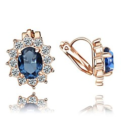 Crystal Clip-On Earrings Blue/Red Sun Flower 18K Rose Gold Plated Fashion Jewelry
