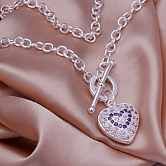 925 Silver Inlaid Amethyst Pendant Necklace (1 Pc)