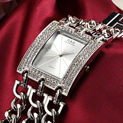 Women's Diamante Chain Band Rectangle Dial Alloy Band Quartz Analog Fashion Watch (Assorted Color)