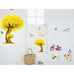 Three Dimensional Yellow Maple Tree Wall Stickers