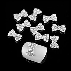 M0231 10pcs Silver Bowknot Set Auger Rhinestones 3D Rhinestone DIY Accessories Nail Art Decoration Style 5