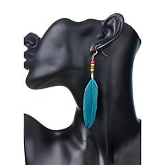 Bohemia Sweet Feather Beads Pendant Alloy Earrings