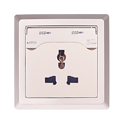 056A  3 Inserted with 2.1A Double USB Universal Charging Wall Socket