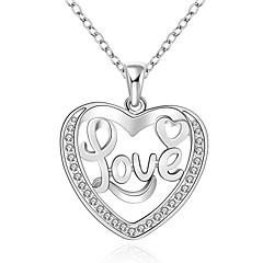 Női Rövid nyakláncok Nyaklánc medálok Nyilatkozat nyakláncok Függők Ezüst Cirkonium Kocka cirkónia Drágakő Divat Fehér ÉkszerekEsküvő