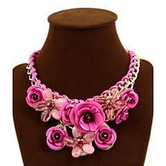 Dames Verklaring Kettingen Bloemvorm roze Edelsteen Legering Festival/Feestdagen Europees Opvallende sieraden gevlochten Kostuum juwelen