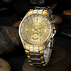 Men's Gold Round Dial Alloy Band Quartz Analog Wrist Watch Cool Watch Unique Watch