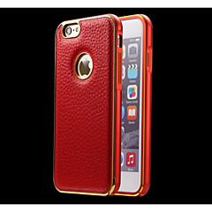 armação de metal pára-choques e couro genuíno Capa para iPhone 6