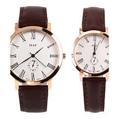 Simple Couple's Leather Band Wristwatch(Coffee)(2Pcs)