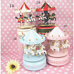 Present Hand Painted Wooden Music Box Musical Box Resin Carrousel Design for Gteative Gift (Random Music)