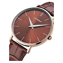 Sinobi Men's Slim Case Leather Band Quartz Analog Wrist Watch (Assorted Colors)