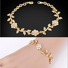 u7® pulseiras elegante design de folha de oliveira claro austríaco strass banhado a ouro 18k de moda presente da jóia para as mulheres