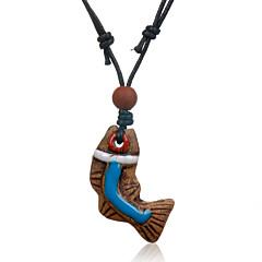 Ethnic Retro Leather Woven Fish Dive Bead Ceramics Pendant Adjustable Necklace