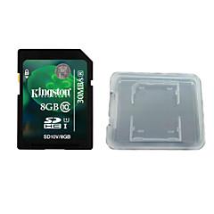 kingston digital 8 gb klass 10 sd minneskort och minneskortet rutan