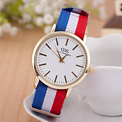 les montres pour hommes unisexes occasionnels montre à quartz de mode bracelet multicolore textile