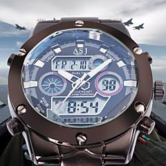 ASJ Herre Sportsur Modeur Armbåndsur Japansk Quartz LCD Kalender Kronograf Vandafvisende Dobbelte Tidszoner alarm Rustfrit stål Bånd