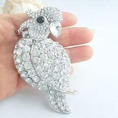 Women Accessories Silver-tone Clear Rhinestone Crystal Parrot Brooch Art Deco Women Jewelry