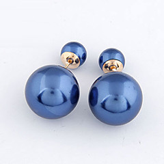 Women's European Concise Fashion Double Side Stud Earrings With Imitation Pearl Front Back Earrings