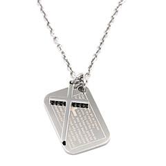Vintage-Männer Silber Schrift Kreuz 316l Edelstahl Halskette