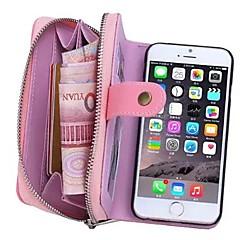 Για iPhone 8 iPhone 8 Plus iPhone 6 iPhone 6 Plus Θήκες Καλύμματα Πορτοφόλι Θήκη καρτών Τσαντάκι πουγκί tok Συμπαγές Χρώμα Σκληρή Γνήσιο