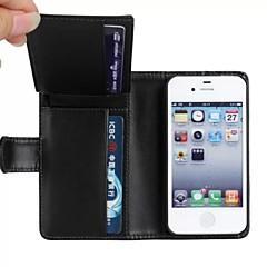 tegnebog stil pu læder fuld kropsbeskyttelse cover med stativ og kort slot til iPhone 4 / 4S
