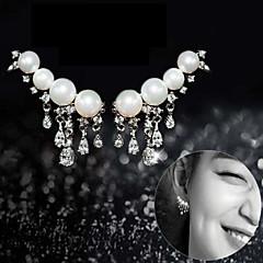 925 Sterling Silver Pearl Exaggerate Women's Tassel Earrings(1 pair/White)