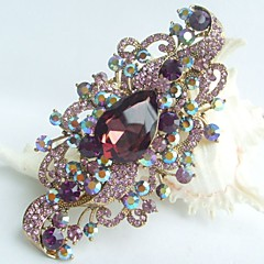 Women Accessories Gold-tone Purple Rhinestone Crystal Flower Brooch Art Deco Crystal Brooch Bouquet Women Jewelry