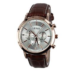 пары наручные часы платье часы реального кожаный ремешок кварцевые наручные часы (разных цветов)
