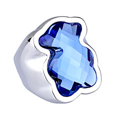 Toonykelly® Stainless Steel Animal Ring Silver Blue Glass Statement Ring 1pc