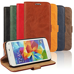 Bark Grain Genuine Leather Full Body Cover with Stand and Case for Samsung Galaxy S5 Mini (Assorted Colors)
