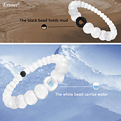 Eruner® Environmental Protection Silicone Bracelet,Bead Mud from Dead Sea & Water from MT Everest,White