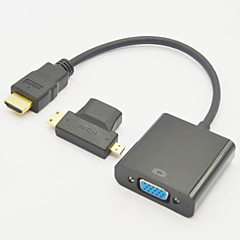 3-in-1 HDMI Female to Mini HDMI Male And To Micro HDMI Male Adapter+HDMI V1.3 to VGA M/F Cable