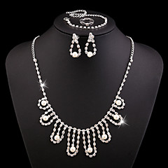 RHinestone Crystal Pearl Jewelry Set include Necklace & Bracelet & Earrings & Adjustable Rings for Wedding Party