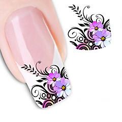 1 Neglekunst Klistermærke Vandoverførende decals 3D Negle Stickere Blomst Abstrakt Makeup Kosmetik Neglekunst Design