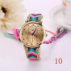 แฟชั่นใหม่นาฬิกาควอทซ์ผ้าทอสร้อยข้อมือทองดูผู้หญิงผู้หญิงสไตล์ประเทศนาฬิกานาฬิกาข้อมือผู้หญิง